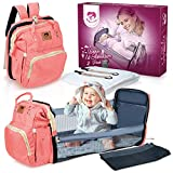 Mother's Care 4 in 1 (Pink) Babies 1st Adventure Pack Travel Bassinet/Diaper Bag/Portable Changing Station Premium Waterproof Oxford Material Baby Diaper Bag, Baby Diaper Backpack with Bassinet
