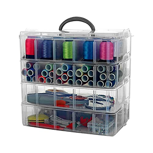 Bins & Things Stackable Storage Container with Clear, 40 Compartments Large - Craft Storage / Craft Organizers and Storage - Bead Organizer Box / Art Supply Organizer