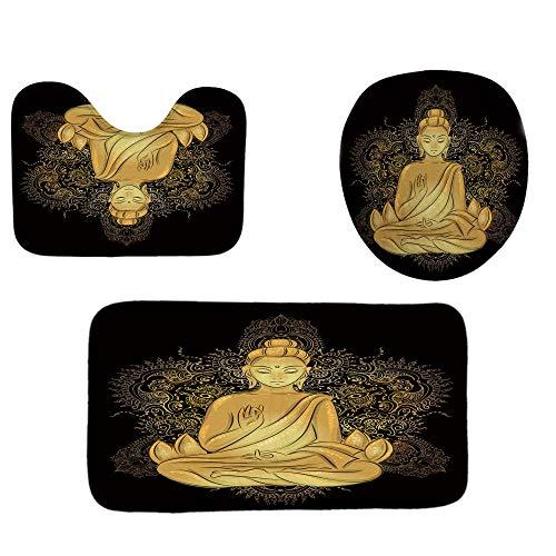 ZXYLSL Tapis de Sol pour Salle de Bains Set 3 PCS Statue de Bouddha Polyester Ultra Doux Tapis de Bain antidérapant pour Salle de Bains Tapis + Couvercle Couvercle de Toilette + Tapis de Bain