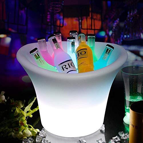Barril de Vino de Madera Cubo De Hielo LED , Cubo De Hielo Restaurante con Barra De Bar Iluminado con Luz Led, Cubo De Hielo Ideal para Fiestas-El Enfriador De Bebidas De Elección para Cerveza, Vino,