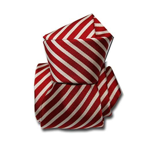 Segni et Disegni. Cravate Mogador. Brescia, Mogador. Rouge, Club/rayé. Fabriqué en Italie.