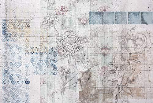 Komar XXL4-068 Vlies Fototapete Patches, Größe: 368 x 248 cm (Breite x Höhe), 4 Teile, Inklusive Kleister, Made in Germany, weiß/blau/Braun/Rosa