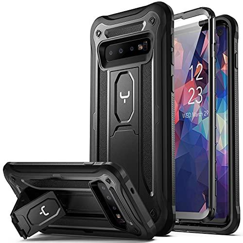 YOUMAKER Coque Samsung S10, S10 Protection Lourde et Antichoc avec Support, Coque S10 avec L'écran Intégré, Adaptée pour Samsung Galaxy S10 6.1 Pouces Noir