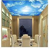 Dalxsh Fototapete Wohnzimmer Dach Tapete 3D Stereo Blauer Himmel Weiße Wolken Tapete Sofa Decke Tapete-280X200Cm