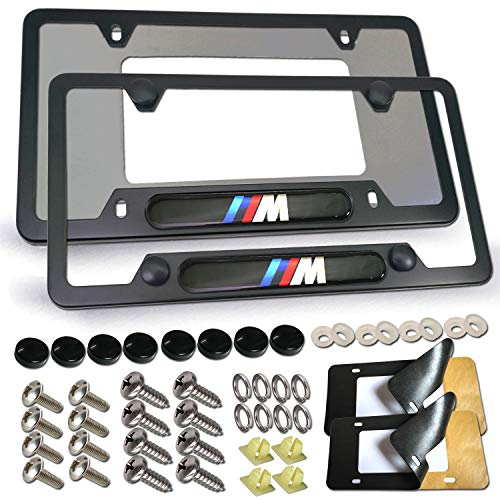 License Plate Frame for BMW- 2 Pack 3D M Logo Matte Aluminum Black License Plate Holder Cover for BMW License Tag Frame with Stainless Steel Plate Screws, Caps Set & License Plate Rattle-Proof Pad