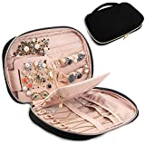 GANAMODA Jewelry Travel Organizer, Soft Padded Traveling Jewelry Bag Case for Earing Necklace Rings Watch Bracelets, Make up Bags 2-in-1 Cosmetic Cases with Necklace Holder, Festival Gift Black