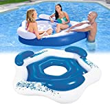 Dongle Inflatable Floating Island, Extra Large Inflatable Chaise Lounge Raft, 3-Person Pool Float with Cup Holders,Lounging Chair for Swimming, Lakes, Beach