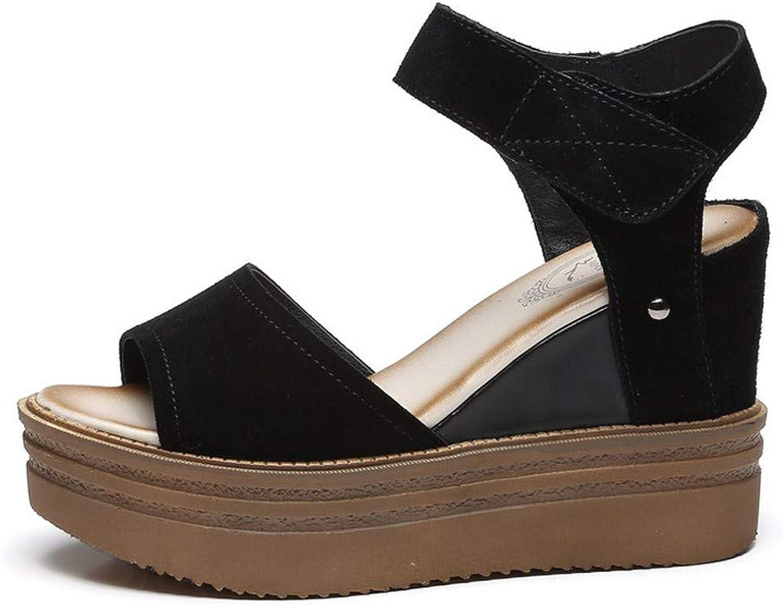 WTKRSM Women's Buckle Slope Heel Sandals Open Toe Fashion Classic Sandals