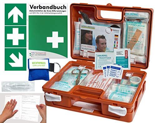 Verbandskoffer/Verbandskasten (K) Typ N -Paket 1- Erste Hilfe nach DIN 13157 für Betriebe -DSGVO- INKL. PERFORIERTEM VERBANDBUCH + Notfallbeatmungshilfe & FOLIENAUFKLEBER
