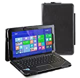 Navitech Black Faux Leather Folio Case Cover Sleeve Compatible with The Asus TransCompatible with Themer Book T100chi