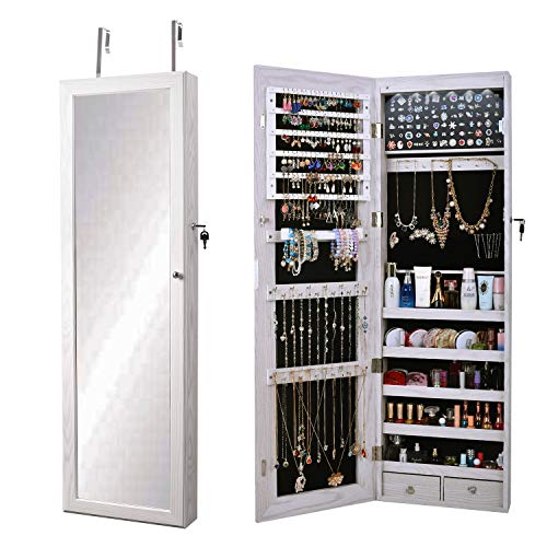 soges Jewelry Organizer Jewelry Cabinet Lockable Jewelry Armoire with Mirror Wall Door Mounted Full Length Mirror with LEDs Jewelry Holder Dresser with 2 Drawers, White, QHX-7025