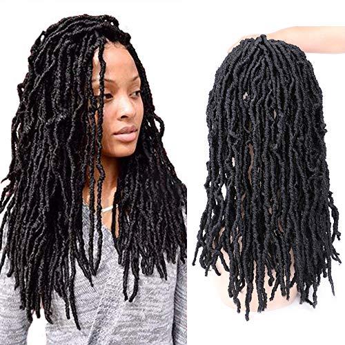 """Mtmei Hair 6 Packs Faux Locs Crochet Hair Goddess Locs Dreadlocks Extension 18"""" 21 Strands Nu Locs Crochet Braids Curly Faux Locs Braiding Hair (#1B Black)"""