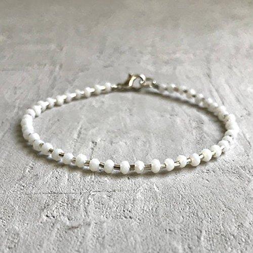 World Wide Gems Plata de ley 925 Empath Protection 3-4 mm Stracking White Glass Bracelet Rondelle, Faceted 7' for Mens, Womens, gf, bf & Adult.