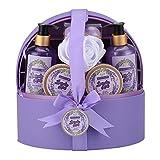 Cestas de regalo de spa para mujeres, set de regalo de baño y cuerpo para ella con estuche de joyería, lavanda lujosa de 12 piezas, el mejor regalo para el día de la madre, cumpleaños, navidad