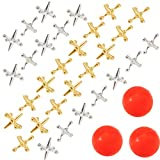 Biubee 3 Sets Retro Metal Jacks and Ball Game- 30 Pcs Gold and Silver Toned Jacks with 3 Red Rubber...