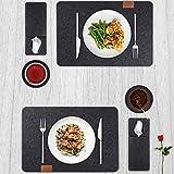 BALFER Tischset abwaschbar aus Filz 18er Set in Anthrazit - 6 Tischuntersetzer Platzset (44x32 cm) + 6 Glas Untersetzer + 6 Bestecksäcken - Hergestellt aus Filz - Platzdeckchen abwischbar - 5