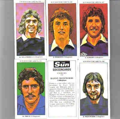 The Sun 70's Soccercards 'Gillingham FC' football cigarette cards x 5