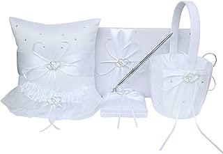ARKSU 5pcs Wedding Sets Flower Girl Basket + Ring Bearer Pillow + Guest Book with Pen + Pen Set Holder + Bride Garter for Rustic Bridal Wedding Shower Ceremony Anniversary-White