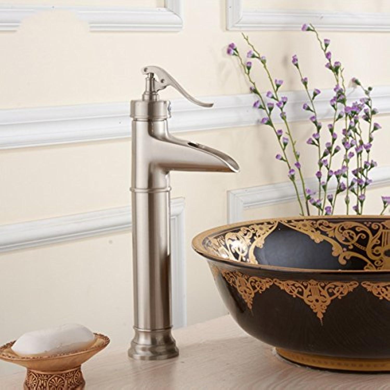 Bijjaladeva Wasserhahn Bad Wasserfall Mischbatterie Waschbecken Armatur für Retro -Kupfer gebürstet Badezimmer Waschtisch Waschbecken Waschtisch Armatur Wasserfall Einloch Waschbec