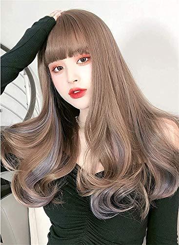 Pelucas Pelucas Largas Pelucas para Mujeres Brown & Purpleombre Synthetic Wig Completo SINTE REDUTE Wave Final DE Pelo Pelo Resistente para EL Cosplay Daya Anime