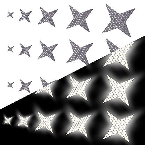 Tuqiang Vierzackige Sternform Reflektierendes Klebeband Wasserdicht Selbstklebend Für Buggy und Kinderwagen Motorradhelm Sicherheit im Freien Reflektierend Aufkleber 25 Stück Weiß