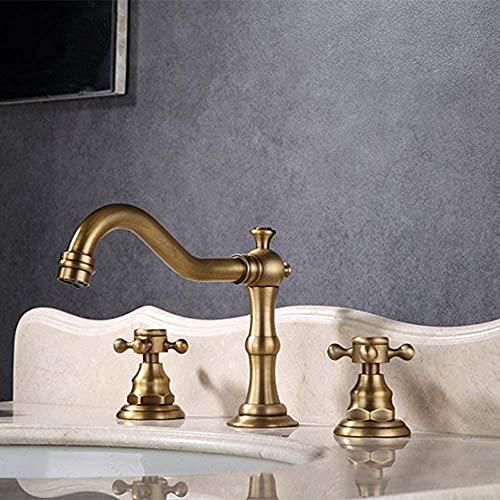 Grifo de estilo europeo Mejoras para el hogar Materiales de construcción Plomería Grifos de baño Herrajes Juego de tres elementos Grifo de agua de lavabo separado de calor frío
