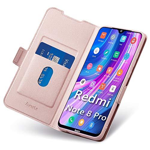 Aunote Funda Xiaomi Redmi Note 8 Pro,Funda Xiaomi Note 8 Pro Libro,Carcasa Redmi Note 8 Pro con Cierre Magnético,Tarjetero y Suporte,Cubierta Plegable Cartera,Flip Case,Étui Piel Protección. Oro Rosa