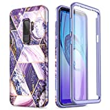 SURITCH Case for Galaxy S9 Plus,[Built-in Screen Protector] Hybrid Full-Body Protection Shockproof Rugged Bumper Soft TPU Lavender Protective Cover for Samsung Galaxy S9 Plus 6.2 Inch (Purple Marble)