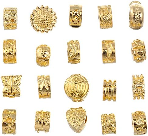 RUBYCA 20pcs Mix Lot of Gold Color Clip Lock Stopper Clasp Beads DIY fit European Charm Bracelet product image