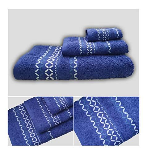 Energy Colors Textil - Hogar - Cenefa Siria - Juego de Toalla 3 Piezas 100% Algodón de 500 Gramos Ducha Lavabo y Vidé (Super Marino)