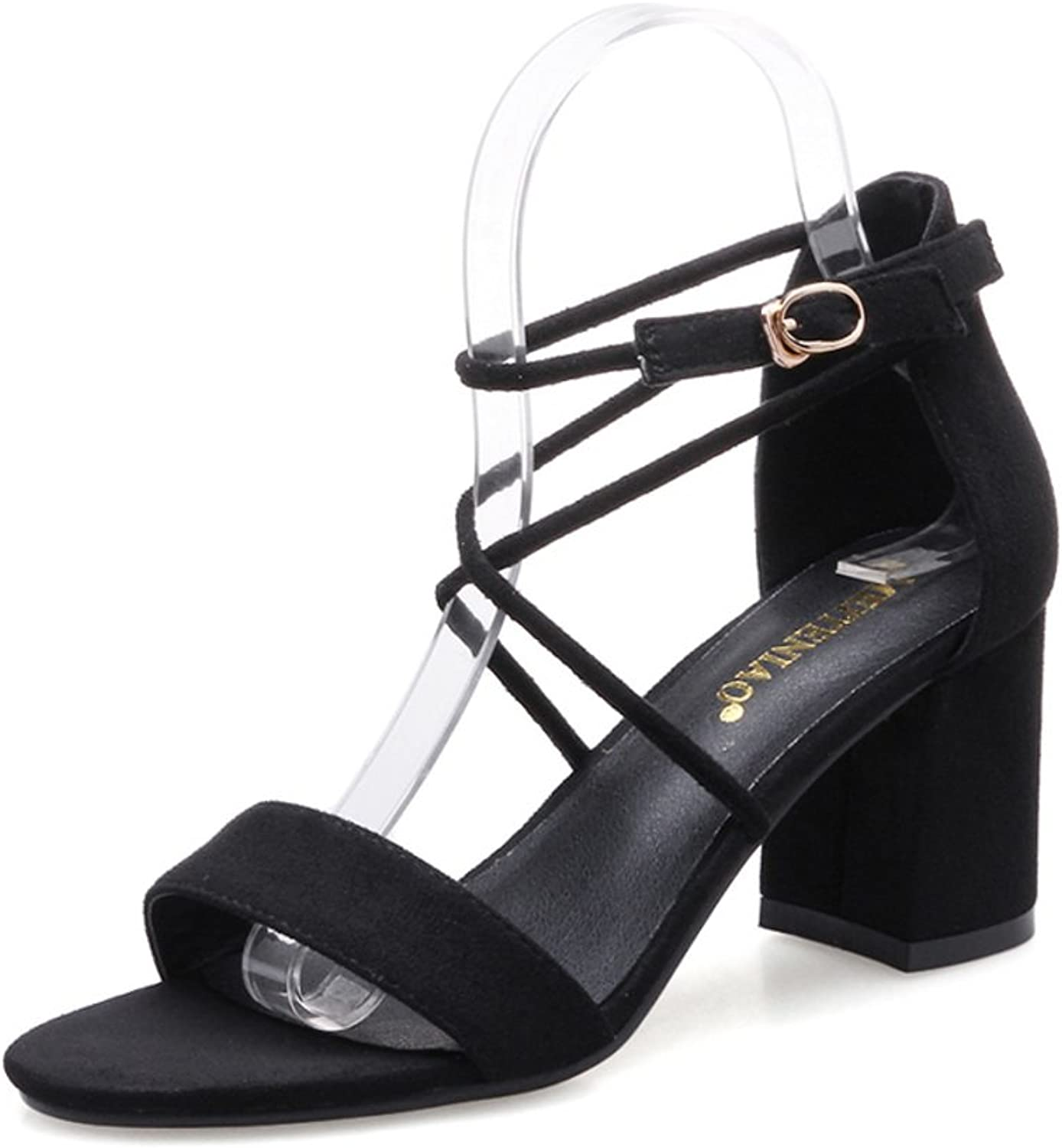 With Rough With Black Sandals,Joker-toe Buckle shoes-Black Foot length=22.8CM(9Inch)