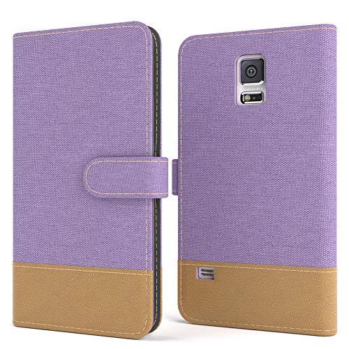 EAZY CASE Tasche kompatibel mit Samsung Galaxy S5/LTE+/Duos/Neo Stoff Schutzhülle mit Standfunktion Klapphülle Bookstyle, Handytasche Handyhülle mit Magnetverschluss & Kartenfach, Kunstleder, Lila
