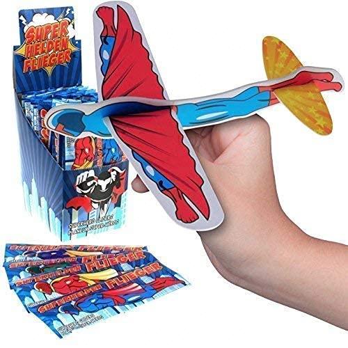 JT Gleitflugzeuge Set - Der Klassiker für den Kindergeburtstag - Styropor-Flieger - einzeln verpackt - für Tombola Schultüte Mitgebsel Überraschung (12er Set Superhelden-Flieger)