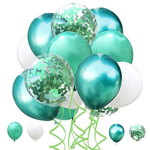 60 Piezas Globo Cumpleaños,Globo de fiesta,Confeti Globos de Látex,12 pulgada Globos de Helio,para Cumpleaños, Bodas Aniversario, Bautizos Comunion Baby Shower (Verde)
