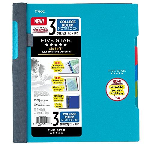"""Five Star Advance Spiral Notebook, 3 Subject, College Ruled Paper, 150 Sheets, 11"""" x 8-1/2"""", Teal (73140)"""