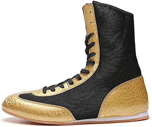 ZKHD Zapatos Boxeo,Zapatos Lucha Caña Alta, Antideslizantes,Cómodos, Botines De Boxeo,Ligeros y Transpirables, Calzado De Entrenamiento para Niños, Niñas, Mujeres,Hombres,Gold-31EU