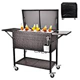 RELAXIXI 80 Quart Rattan Rolling Cooler Cart, Portable Wicker Cooler Trolley, Beverage for Patio Pool Party, Ice Chest with Shelf, Bottle Opener, Cap Catcher, Water Pipe and Cover(Single Top - Brown)