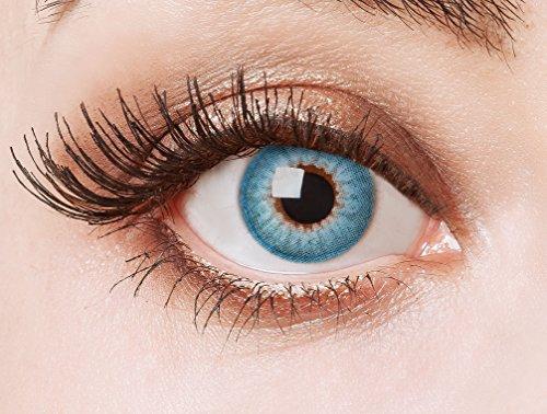 aricona Kontaktlinsen - natürlich blaue Jahreslinsen ohne Stärke - deckende Kontaktlinsen farbig blau ohne Stärke, 2 Stück
