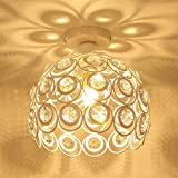 iDEGU Moderne Deckenleuchte Kronleuchter Lampenschirm aus Kristall und Metall LED Pendelleuchte Vintage Industrielle E27 Deckenlampe Innendekoration für Schlafzimmer Flur – Weiß, 26 cm