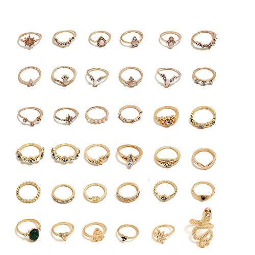 Integrity.1 Conjunto de Anillos Vintage,36 Piezas Conjunto de Anillos de Oro, Conjunto de Anillos de Nudillos Apilables, para Mujeres y Niñas Conjunto de Anillos Apilables Flores