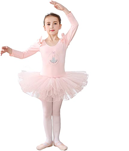 HUO FEI NIAO Danse de Ballet à Manches Longues pour Enfants, vêtements de Spectacle, Costumes (Couleur   Rose, Taille   M)