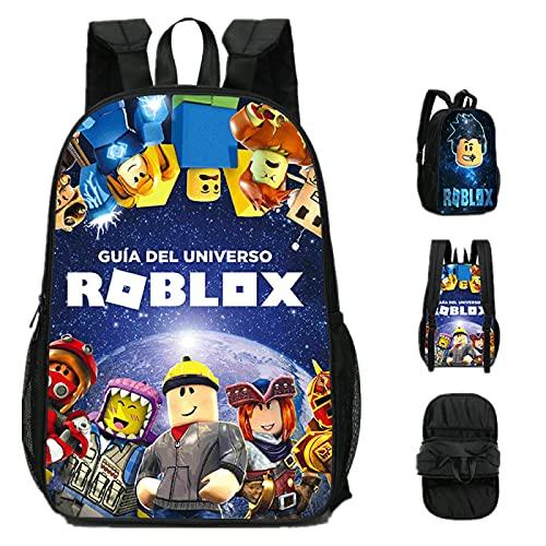 ZBK Game Roblox - Mochila escolar de doble cara, diseño de doble cara, para estudiantes, niños, niñas y niñas, 5 colores