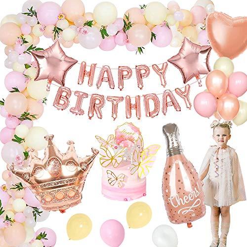 MMTX Geburtstagsdeko Rosegold Deko, Happy Birthday Girlande Mädchen Folienballons mit Tortendeko und Luftballons für Kinder Mädchen Baby Geburtstag Party Babydusche Dekorationen