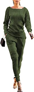 Womens 2 Piece Outfits Fall Knit Pullover Sweater Top+Long Bodycon Pants Tracksuit Set