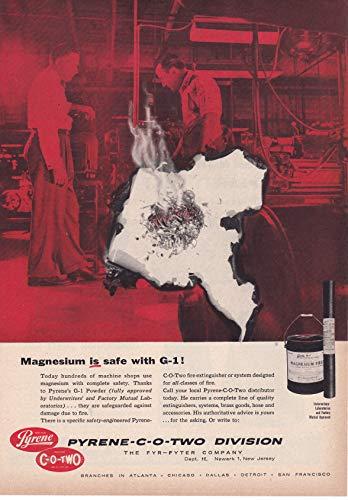 1957 Original Magazine Print Ad Pyrene CO2 Fire Extinguishers Magnesium G1