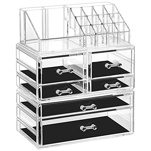 Syntus Makeup Organizer 3 Pieces Cosmetic Jewelry Storage Display Cases for Vanity, Countertop, Dresser, Bathroom, Clear