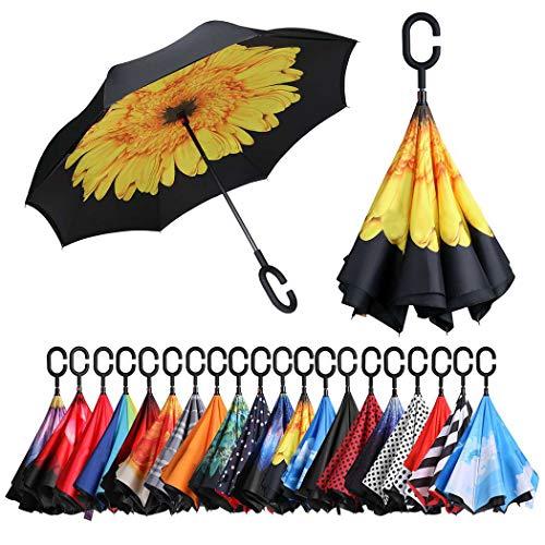 Eono by Amazon - Inverted Stockschirme, Winddicht Regenschirm, Reverse Stockschirme mit C Griff, Selbst Stehend, Double Layer, Schützen vor Sturm Wind, Regen und UV-Strahlung, Sonnenblume
