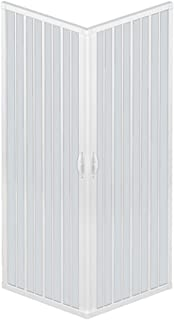 RL Mampara de Ducha 80x90 CM Rectangular de PVC Mod. Acquario con Apertura Central