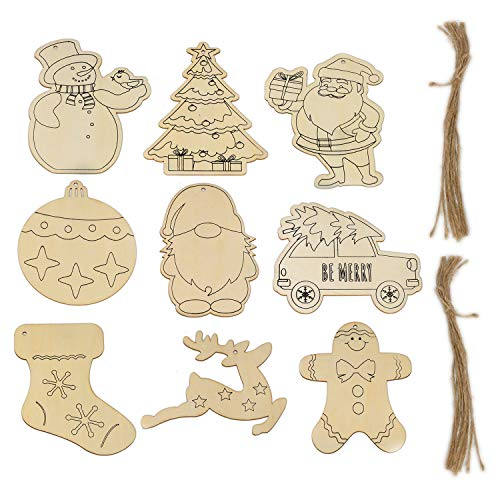 36 Pack Unfinished Wooden Christmas Ornaments for Crafts, LANTINGCHI Premium 7'' DIY Wooden Ornaments to Paint Christmas Tree Party Holiday Decorations, 9 Shapes with Holes and Strings for Hanging