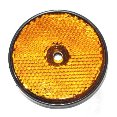 Old-Harvest 12x Reflektor mit Loch Rund 60mm für Anhänger Pritsche Trailer KRAD Rückstrahler Markierung Neu (Gelb)